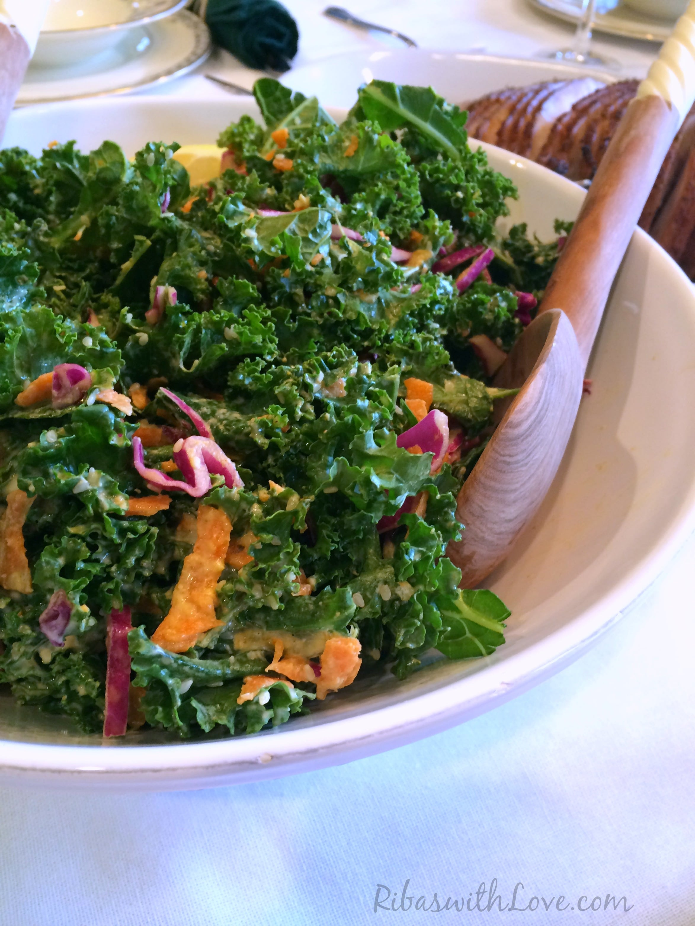 Kale salad with sweet and creamy dressing, so delicious and full of health benefits.