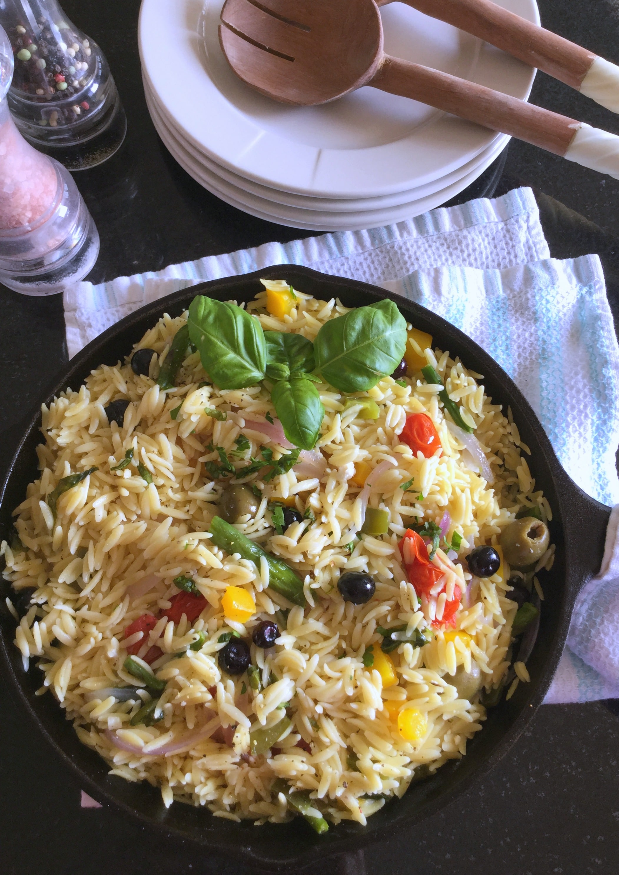 This Lemon Orzo Primavera contains your serving of starch and it's packed with veggies, herbs and other delicious flavors and healthy fats
