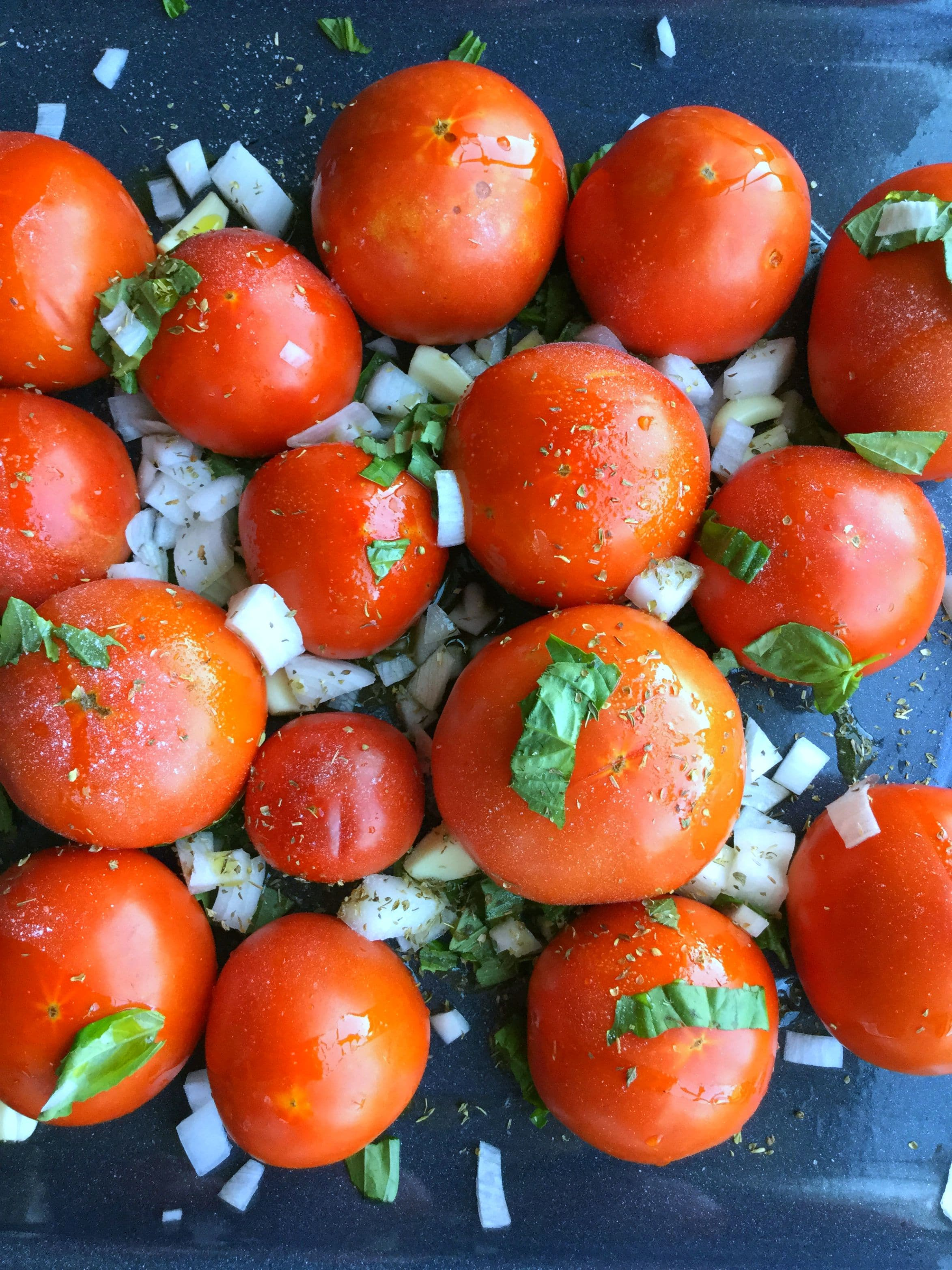 Tomatoes pre-roasting -The ultimate signature roasted tomatoes sauce, flavorful in taste and rich in consistency.