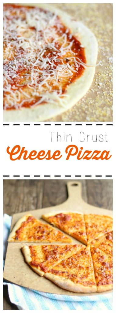 Making pizza is so much fun! This thin crust cheese pizza is light, delicious and everyone will enjoy it! | gardeninthekitchen.com