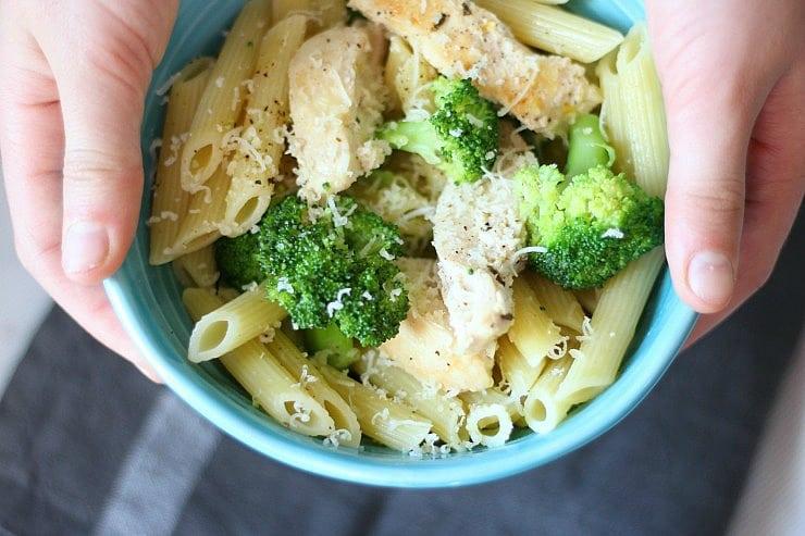 Classic Chicken Broccoli Pasta with garlic herb butter sauce. 30 minutes nutritious meal! gardeninthekitchen.com
