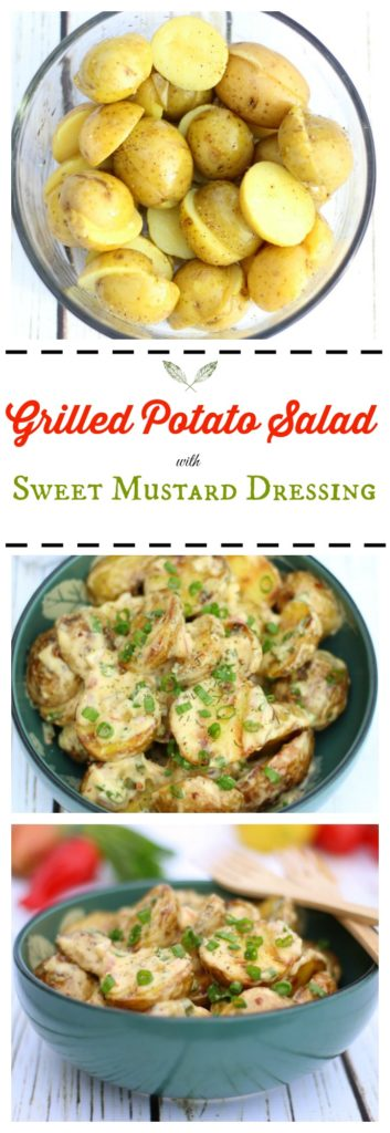 This grilled potato salad with sweet mustard dressing is an incredibly tasty side dish for your summer cookout! gardeninthekitchen.com